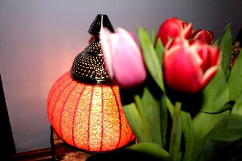 Lampe und Tulpen