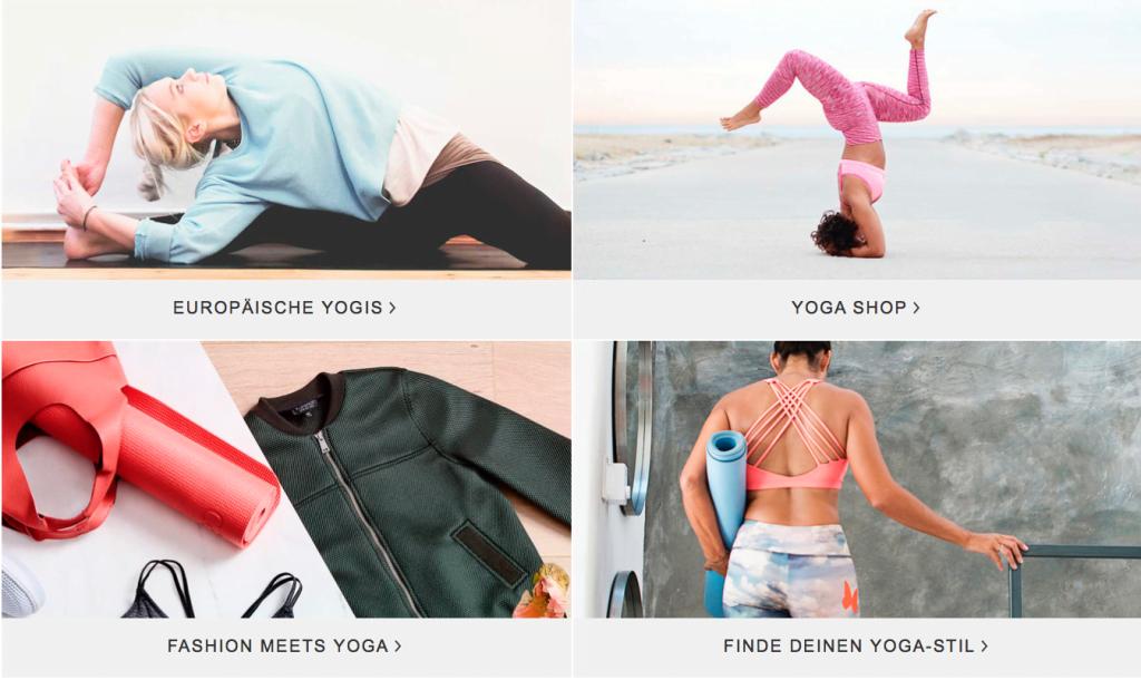 Rubriken Zalando loves Yoga